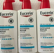 ✦ NEW ✦ 3 EUCERIN INTENSIVE REPAIR LOTION VERY DRY FLAKY SKIN FRAGRANCE FREE