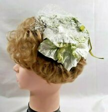 New listing 1950s Ladies Womens Hat Green & White Flocked Leaves Veil Fashion Accessory 5940