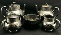 6 pc Antique Toronto SP Company Quadruple Silver Plate Hammered Tea Coffee Set