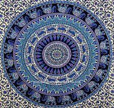 Hippie Tapisserie Indienne Éléphant Mandala Jeté De Lit Double Tenture Murale