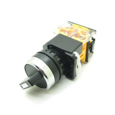 Round 22mm Rotary Selector Switch 2 Positions NC + NO Latching Self-Locking 10A