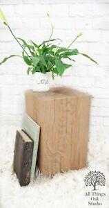 20cm x 20cm x 40cm or 50cm Tall SOLID OAK Tall Wooden Block Beam Lamp Side