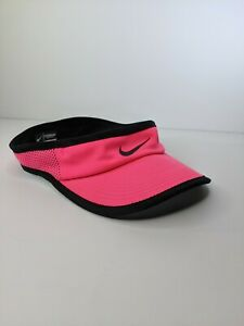 NIKE DRI-FIT Featherlight Pink Golf Running Tennis Visor Hat Cap Black Swoosh