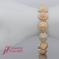 Armband 375 Gold Gelbgold Weißgold Rotgold tricolor dreifarbig 19cm Goldarmband