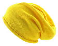 100% Cotton Summer Slouchy Beanie, 13 Stand Colours Light Weight Slouch Hat Hats