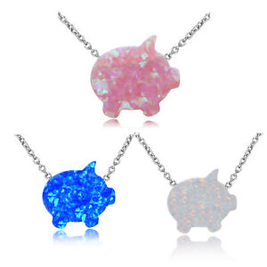 Fashion 925 Silver Cute PIG Design Choker Fire Opal Necklace Women Girl Jewelry