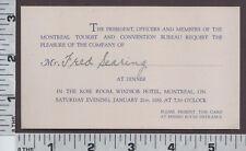 B659 Fred Searing ticket invitation Montreal Tourist & Convention Bureau Canada