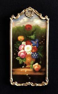 Quadro barocco antico dipinto olio su pala fiori natura morta cm 77x40 PA01