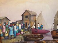 HAITI BEAUTIFUL Original Oil of a fishing village FRAMED  by Rodini Auguste