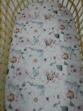 Bassinet Fitted Sheet Flannelette Blue Tepee Cactus FITS STANDARD BASSINET