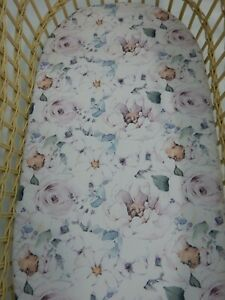 Bassinet Fitted Sheet White Rose Savannah 100% Cotton FITS STANDARD BASSINET