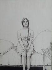 """SFA 1906 """"Mädchen auf Bett"""" Zeichnung 27x20 cm     (252/13030)"""