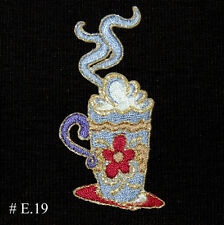 1~PC~DELICIOUS HOT COFFEE IRON ON EMBROIDERED/PATCHES