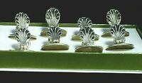 Christofle set of Eight (8) silver Place Name Menu Holder shell - Made in France