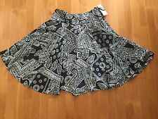 NWT $119 LAUREN Ralph Lauren Black Paisley SKIRT Flared Full Classic 8