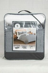 Cole 5 Piece Chambray Quilt Set - Cole - Gray