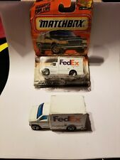 (2)1998 MATCHBOX FEDEX #23 FORD BOX VAN TRUCK DIECAST lot 1 new 1 used