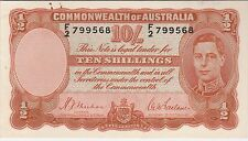 Australia 10 Shillings Banknote (1939) Nice About Uncirculated Cat#25-A-9568