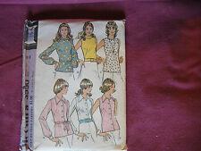 Vintage McCalls Pattern 3550 Miss Blouse Shirt 1973Sz 16 Bust 38 Zipper Buttoned
