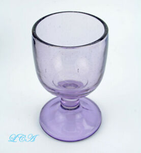 Beautifully ornate antique SUN COLORED amethyst PURPLE lavender stemmed GOBLET