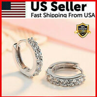 925 Sterling Silver Plated CZ Cubic Huggie Hoop Small Earrings Men Women E21 USA