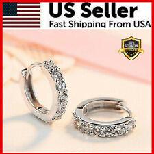 925 Sterling Silver Plated CZ Cubic Huggie Hoop Small Earrings Men Women E21 USA