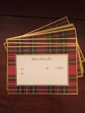 CASPARI Tartan Plaid Christmas Holiday Invitations Box Of Ten (10) w/Envelopes