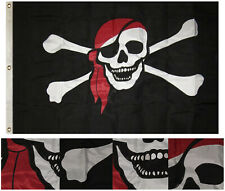 3x5 Embroidered Sewn Pirate Red Hat Scarf Synthetic Cotton Flag 3'x5'