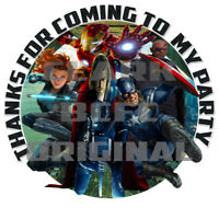 70 x Avengers Thank You stickers 37mm party favour cone label kids birthday