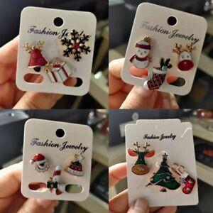 12Pcs Christmas Tree Elk Brooches Pin Enamel Badge Charm Women Jewelry Xmas Gift