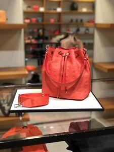 MCM Essential hot coral Drawstring Bag in Monogram Leather