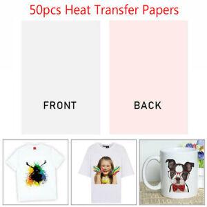 50x Heat Transfer Paper T-shirt A4 Iron On Press Light Cotton Inkjet Print UK