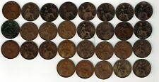 Date run of 29 One penny pennies coin : 1896 - 1922 + 1912H + 1919H