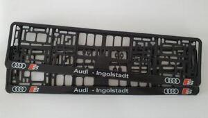 2 x CAR Number Plate Surround Holder Frames, will fit Audi - Ingolstadt