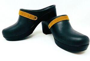 Women's Crocs Sarah Clog Black Mule Dual Comfort Leather Strap 20631-206 Size 7