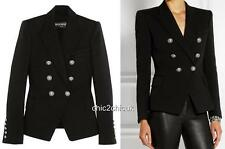 Balmain Black Double-breasted blazer Jacket Uk14 FR44 $2500 New Sold out Colour