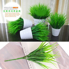 GREEN Artificia 7 FORK Plastic Green Grass Plant Flower Office Home Garden Decor