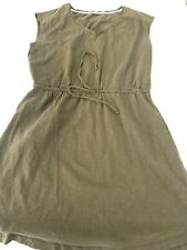 Boden womens Dress Pockets cotton Olive green 10R US Drawstring Short Sleeve