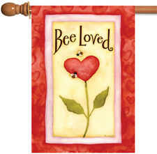 New Toland - Bee Loved - Cute Red Love Valentine Heart House Flag