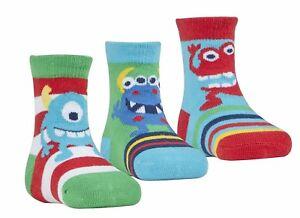 3 Pairs Baby Boys Monster Socks Pack Of 3 Design Socks 0-0 0-2.5 44B531