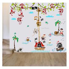Pirate Ship Height Chart Wall Stickers Monkey Jungle Nursery Baby Kids Room Art