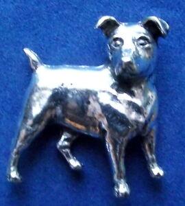 Zinn Jack Russell Terrier Brosche Pin Unterzeichnet