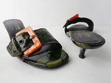 Donald J Plinar US 6.5M Green Croco Patent Leather Kitten Heel Slide Shoe ITALY