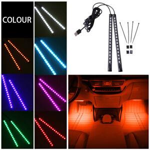2x16LED Universal USB Car Auto Orange Interior Lamp Atmosphere Light Ambient