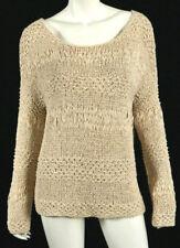DONNA KARAN CASUAL LUXE Ecru Ribbon Open Weave Knit Pullover Sweater S 70f2a21ef