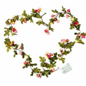2M 20LED Leaves Ivy Leaf Rose Flower Garland Fairy String Lights Garden Lamp