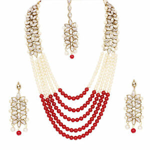 Indian Fashion Wedding Pearl Jewelry Bridal Necklace Earrings Gold Plated Set