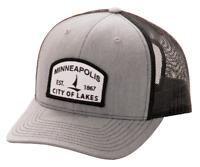 Minneapolis Minnesota Trucker / Baseball Hat / Richardson Snapback Grey / Black