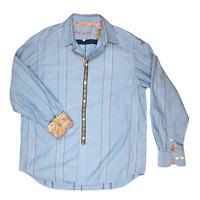 Robert Graham L Men's Button-Up Long Sleeve Blue Shirt Striped Contrast Cuffs
