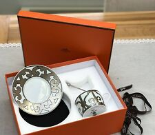 100% Authentic Boxed Hermes Tea Cup, Saucer & Stirrer Harrods Platinum Porcelain